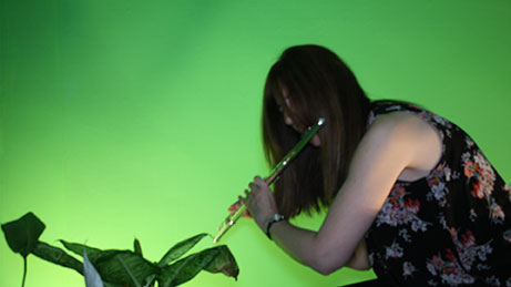 Sue Miller playing flute
