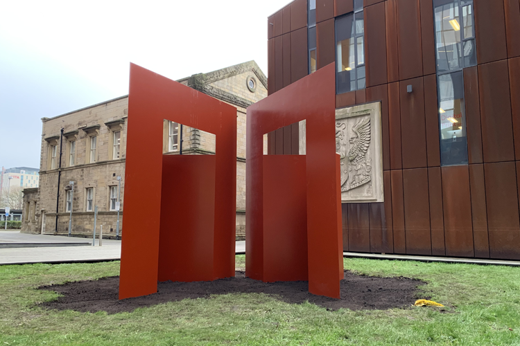 University sculpture made to human proportions installed