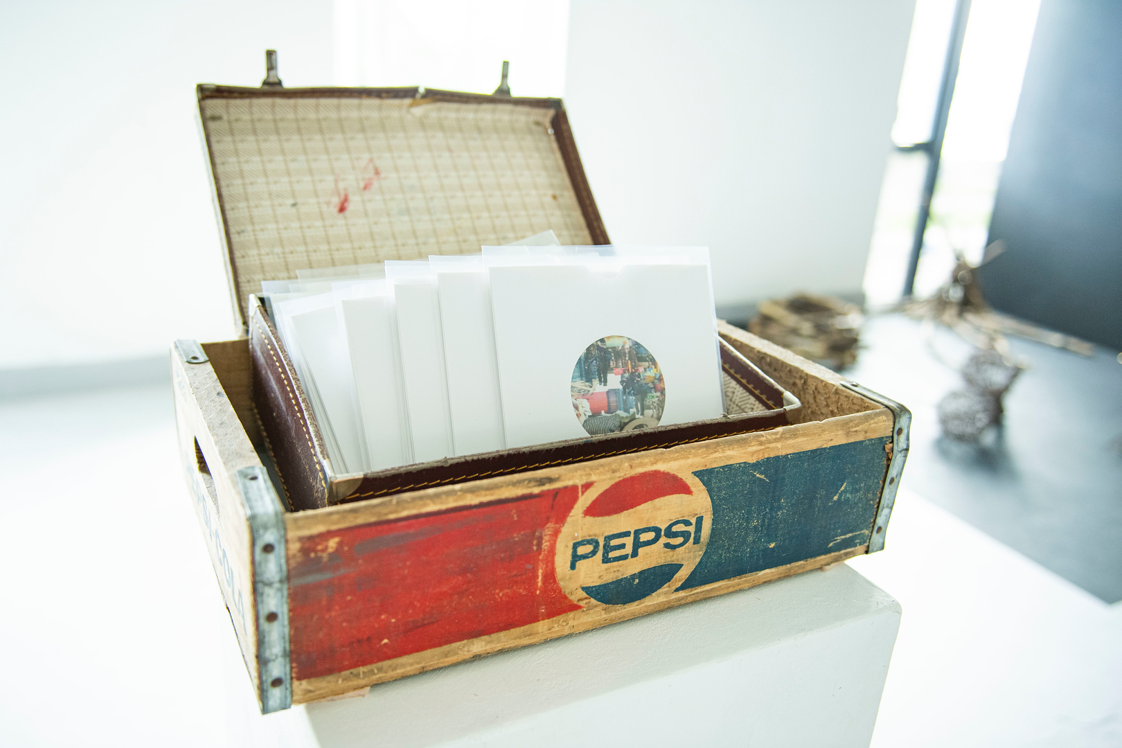 Old pepsi box filled with recrods