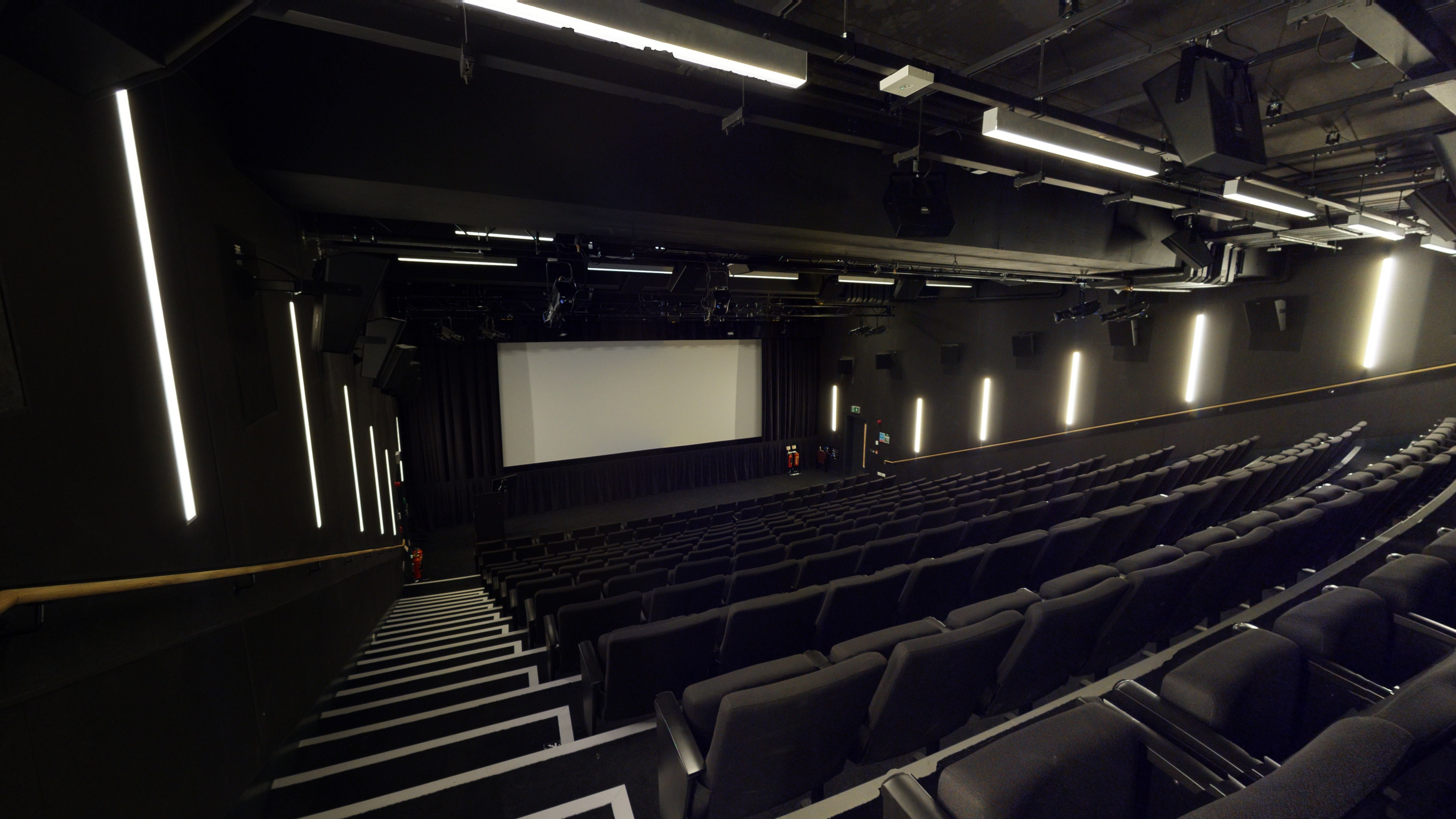 Commercial style cinema with 220 seats and a large projection screen at the front.