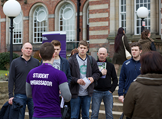 Student ambassadors on a guided campus tour