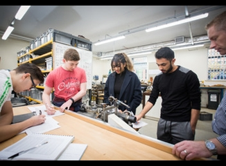 Student in the Leeds Beckett civil engineering lab