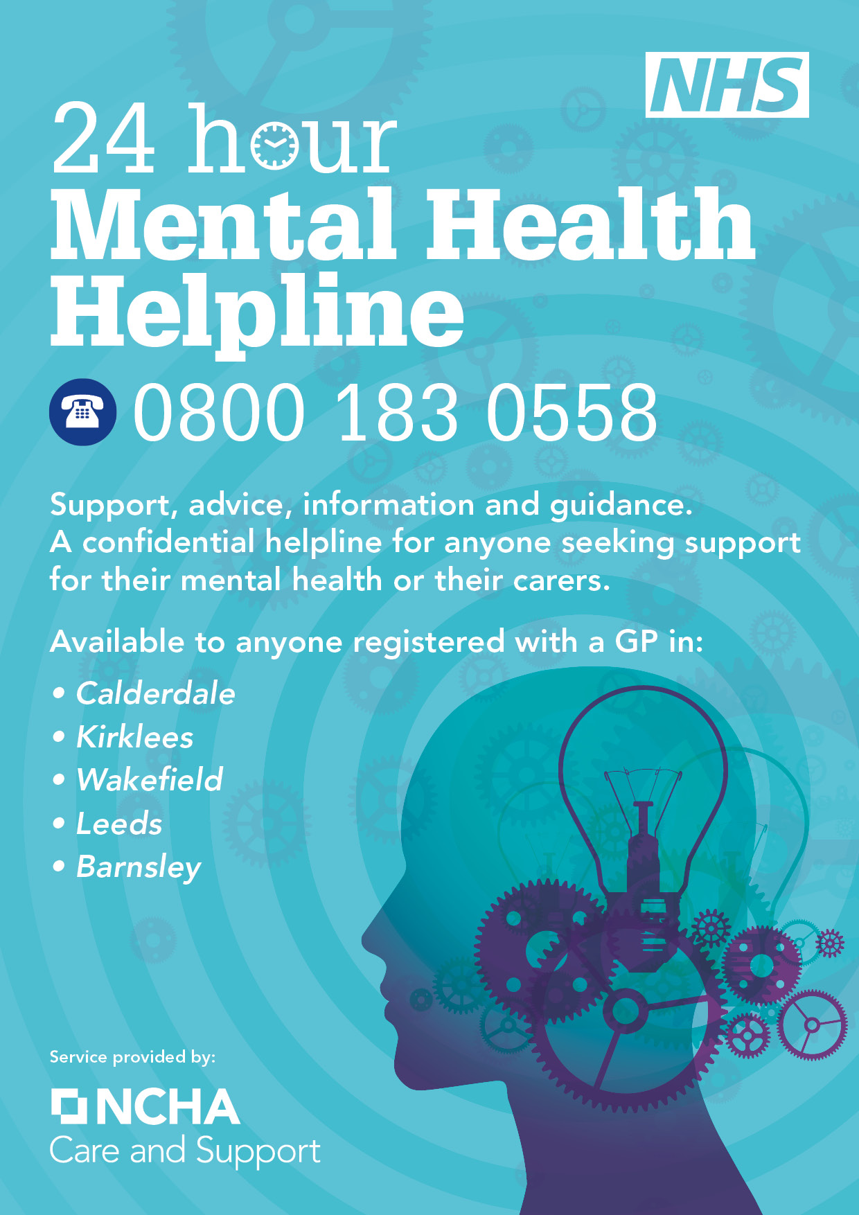 picture of a poster with the number 0800 183 0558 for the mental health helpline
