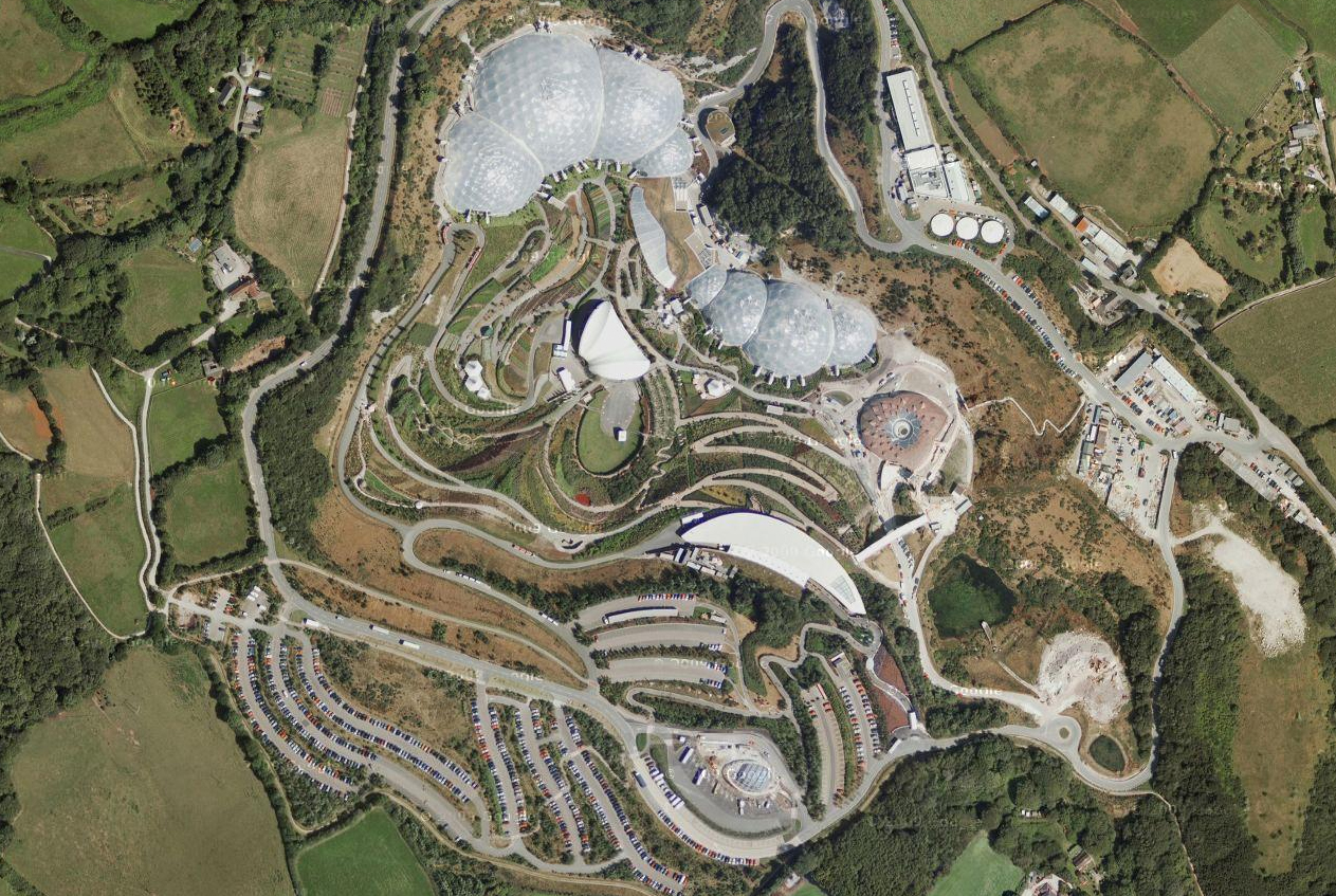 Aerial view of Eden project