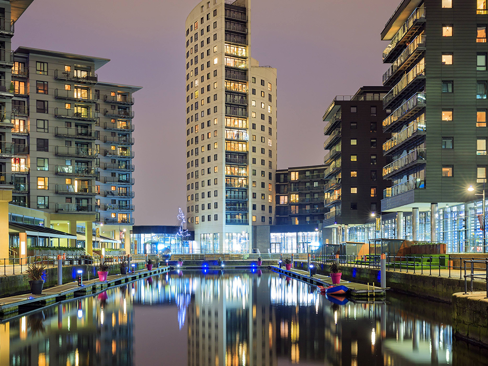 Leeds dock at night